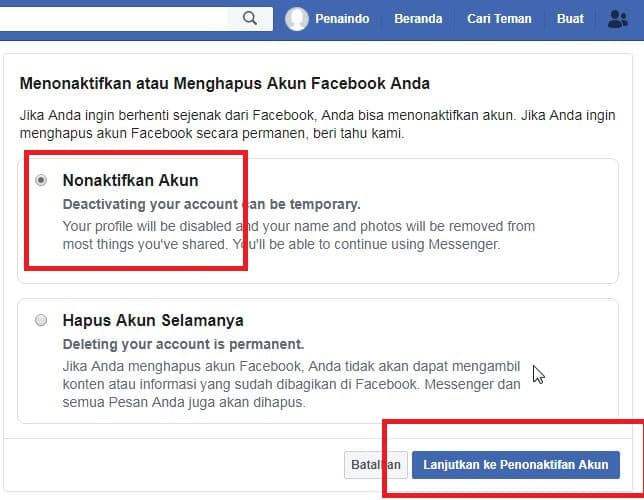 Cara Hapus Akun Facebook Lewat PC