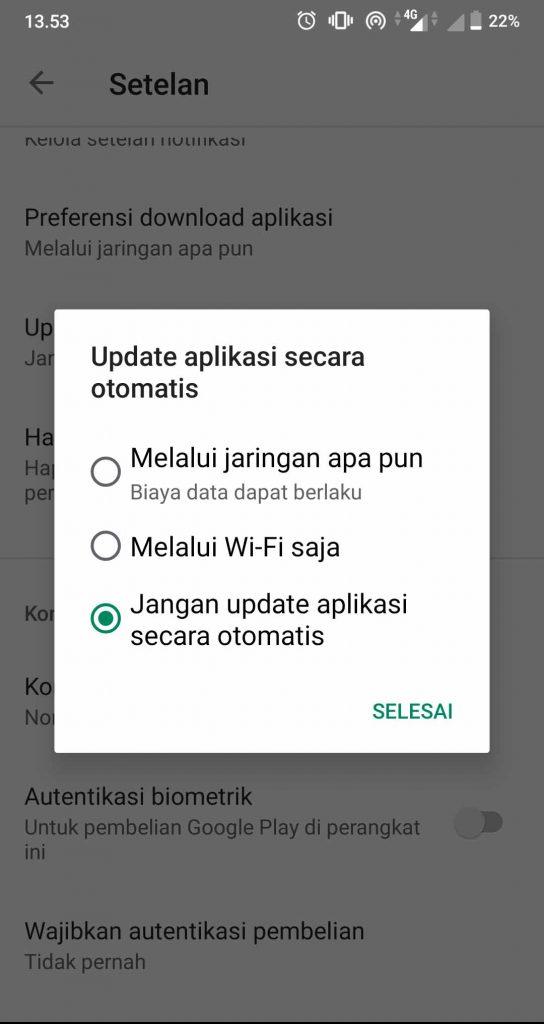 Cara Mematikan Update Otomatis Play Store